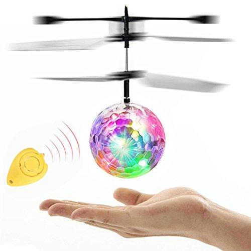 人気 RC Flying Ball フライングボール きらきら光る LED ボール RC赤外線誘導  手のひら上 ヘリコプターボールキーン 飛行器  超頑丈 おもちゃ リモコン付き (彩色) (彩色  フライングボール)