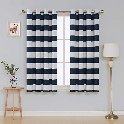 Deconovo Navy Blue Striped Room Darkening Curtains Grommet Nautical Navy and Greyish White Striped Curtains for Kids Room 52W X 63L Navy -