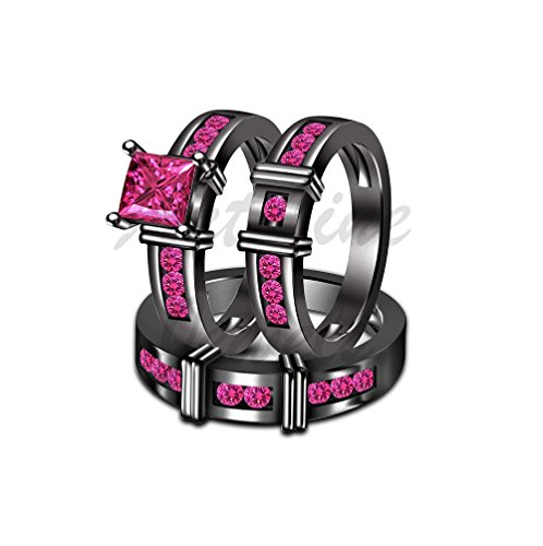 ArtLine Jewels His & Her 14K Black Gold Princess & Round Cut Pink Sapphire Wedding 3pcs Trio Ring Set by ArtLine Jewels (Image #3)