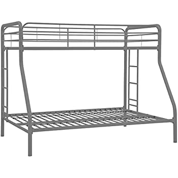 DHP Twin-Over-Full Bunk Bed with Metal Frame and Ladder, Space-Saving Design, Silver