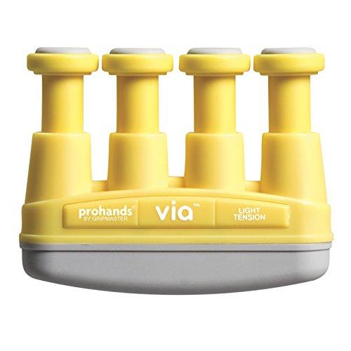 - Prohands VIA Hand Exerciser, Finger Exerciser (Hand Grip Strengthener), Spring-Loaded, Finger-Piston System, Isolate and Exercise Each Finger, (4 lb Light Tension, Yellow-Via)