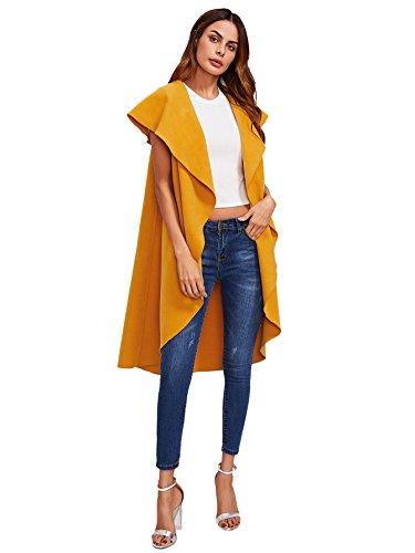 Romwe+Women%27s+Casual+Oversized+Cardigan+Drape+Collar+Open+Front+Outwear+Coat+Jacket+Vest+Yellow+L