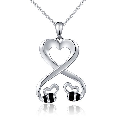 925 Sterling Silver Double Bees Infinity Love Heart Pendant Necklace for Girlfriend, 18'' by SILVER MOUNTAIN (Image #7)