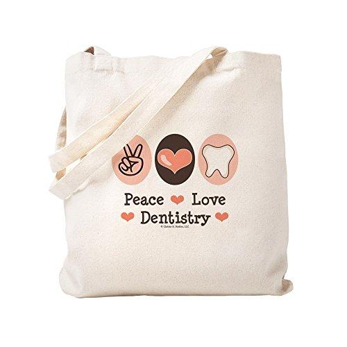 CafePress Peace Love Dentistry Dentist Natural Canvas Tote Bag, Cloth Shopping Bag