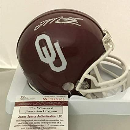 6153d476d Image Unavailable. Image not available for. Color  Autographed Signed Joe  Mixon Oklahoma Sooners Football Mini Helmet Memorabilia - JSA Authentic