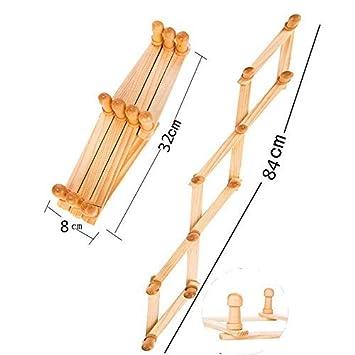 Amazon.com: SStaste - Perchero extensible de madera con 10 ...