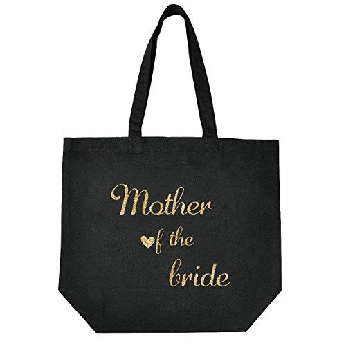 ElegantPark Mother of The Bride Tote Wedding Gifts Bridal Shower Bag 100% Cotton Black with Gold Glitter
