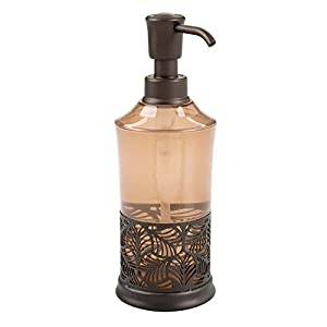 InterDesign Fauna Soap Pump Dispenser for Bathroom Countertop Or Kitchen Sink – Amber/Bronze