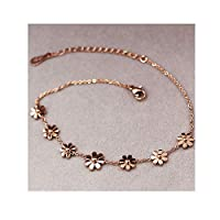haleysmall Titanium Steel Jewelry 7 Daisy Anklets for Women Rose Gold Color Fashion Prevent Allergy Summer Jewelry,Rose Gold