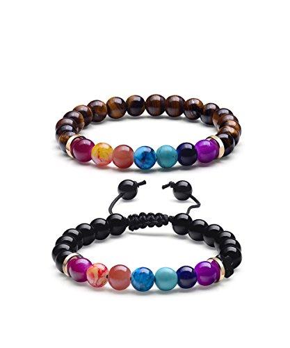 7.25' Link (Yoga Meditation Bracelets, Prayer Beads 7 Chakra Natural Stone Men's Bracelets (Set of 2))