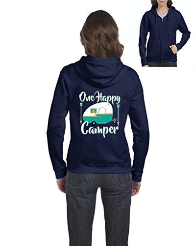 Ugo One Happy Camper Gift 4 Camping Hiking Outdoors BFF Birthday Christmas Full-Zip Women's Hoodie Clothes
