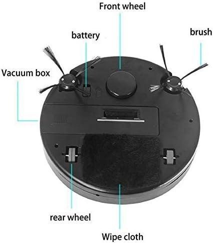 LSXUE Nettoyeur Multifonction Intelligent étage, 3-in-1 Auto Rechargeable Intelligente Balayer Robot à Sec Humide Aspirateur Balayer Noir (Color : Black) Black