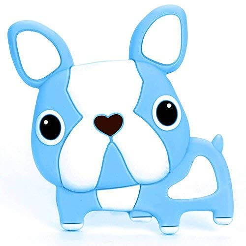Single Boston Terrier Silicone Teether Baby Teethers BPA Free (Blue)