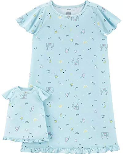Carter's Girls Jersey Gown and Doll Dress Set Blue