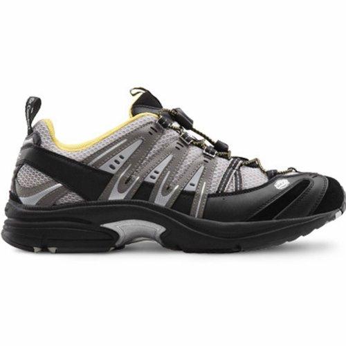 Dr. Comfort Performance-X Therapeutische Männer Diabetische Doppeltiefe Schuh Leder / Mesh-Schnürung Schwarzgrau