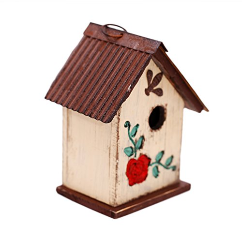 Shape Birdhouse Bird - A Ting Bird House Wooden Carved Floral Birdhouse with Hanging, White