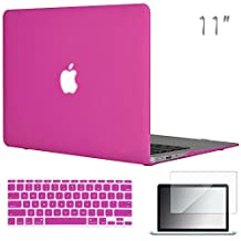 """Easygoby 3in1 Case For MacBook Air 11-inch - Matte Silky-Smooth Soft-Touch Snap-on Hard Shell Case Cover Skin For Apple MacBook Air 11.6"""" + Keyboard Cover + Screen Protector - Hot Pink"""