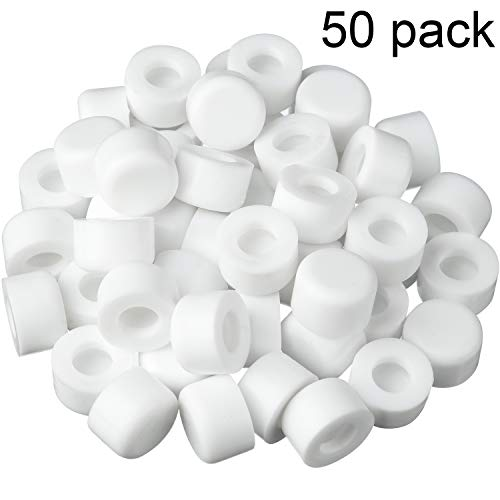 50 Pack Rubber Door Stop Bumper Tips White Silicone Replacement Door Stop Caps Doorstopper Bumpers for Wall and Floor Protection, Universal Size