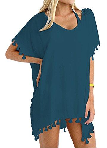 Yincro Women's Swimsuit Bathing Suit Cover Ups for Swimwear (Lake Blue, C)