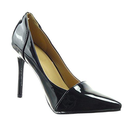 Di Modo Stiletto Spillo A Vernice Scarpa Caviglia Cm Pattino Alto Sopily Brillante Dello Donne Nero Tacco 10 OgHxWn