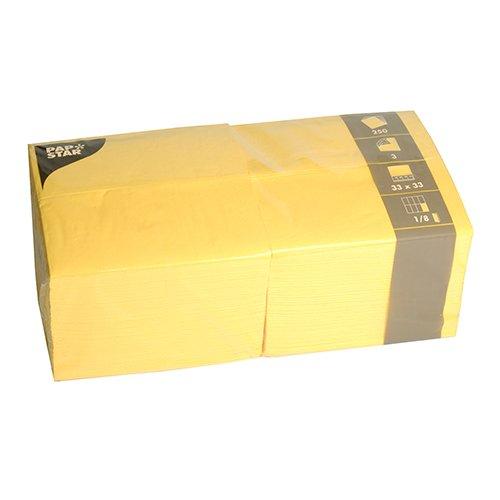 Papstar 84580 250 Servietten, 3-lagig 1/8-Falz 33 cm x 33 cm, gelb