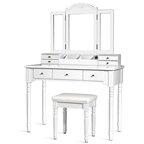 CHARMAID Vanity Set with Tri-Folding Mirror & 8 Necklace Hooks, 7 Drawers, 2 Dividers, 6 Desktop Makeup Organizers, Makeup Dressing Table with Cushioned Stool for Women Girls (White) (Table Furniture Vanity Set)