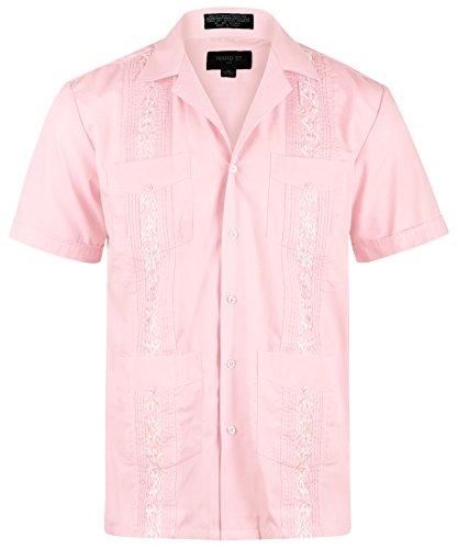 Ward St Men's Short Sleeve Cuban Guayabera, 2XL, 18-18.5N, Pink