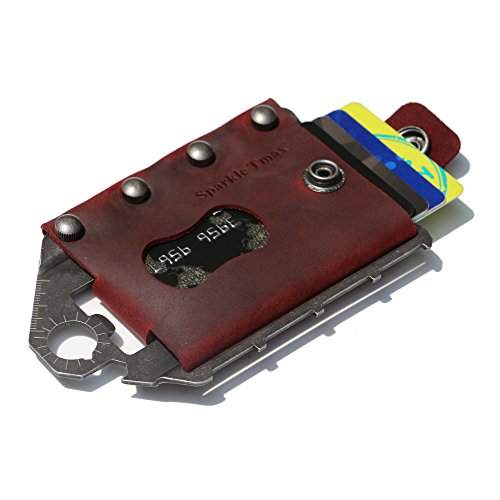 Sparkle Tmax Multi-Functional Metal Wallet Leather Tactical Wallet Multitool Wallet RFID Blocking Card Case Outdoor Wallet (Red)
