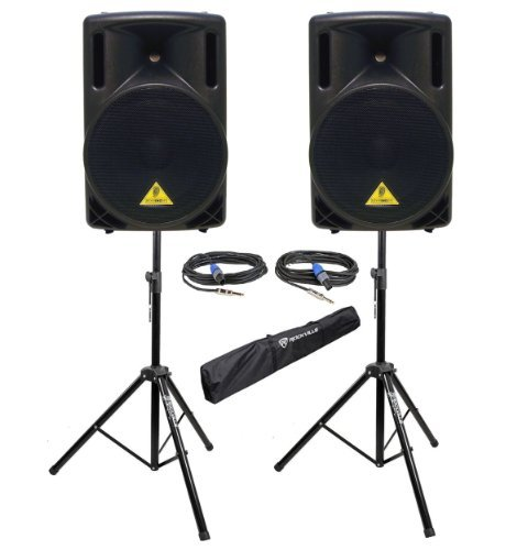 Package: (2) Behringer B212XL 1,600 Watt Light-Weight 12'' Pa Speakers Or Monitors With Multiple Mounting Options + Rockville RVSS2-TSNL4 Pair of Adjustable Pro Speaker Stands + (2) 1/4'' to Speakon NL4 Cables + Carrying Case by Behringer