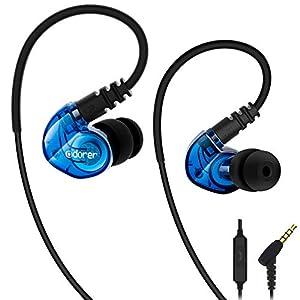 Écouteur Sport Adorer RX6 Ecouteurs Intra-auriculaires avec Microphone Casque de Sport Filaire pour iPhone, iPad, Android, Smartphones, Lecteurs MP3 /MP4 – Bleu