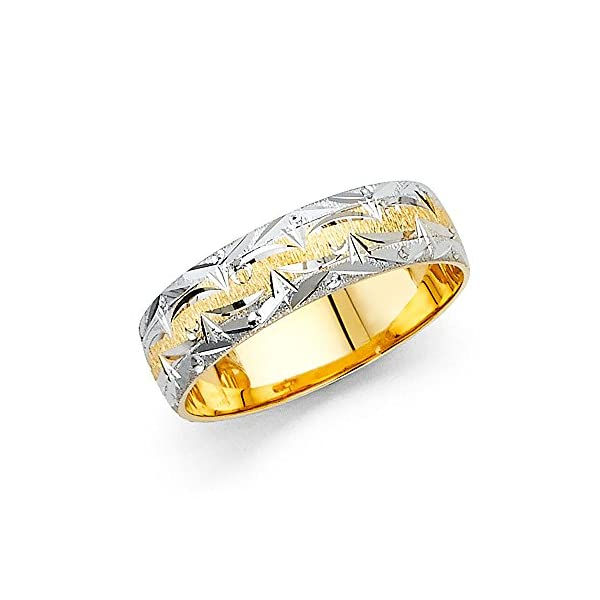 Wellingsale-14k-Two-2-Tone-White-and-Yellow-Gold-Polished-Satin-6MM-Diamond-Cut-Comfort-Fit-Wedding-Band-Ring