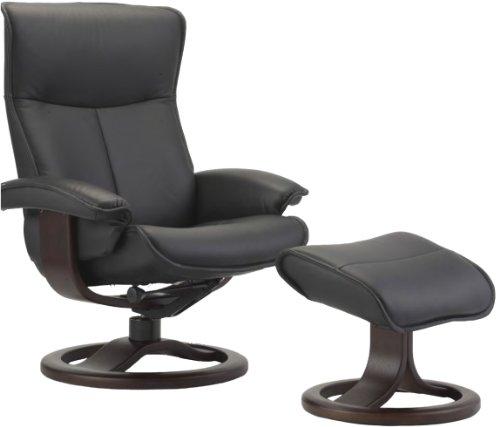 Fjords Senator Large Leather Recliner and Ottoman - Norwegian Ergonomic Scandinavian Reclining Chair in Soft Line Genuine TigerEye Leather Cherry Wood