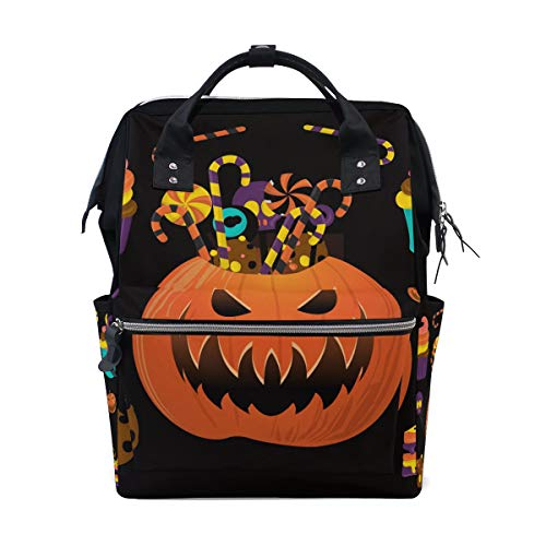 FOLPPLY Happy Halloween Pumpkin Candy Diaper Bags Mummy Tote Bags Large Capacity Multi-Function Backpack for Travel ()