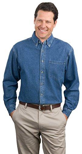 Port Authority Heavyweight Denim Shirt, Dark Blue Stonewashed, Large - Heavyweight Stonewashed Denim