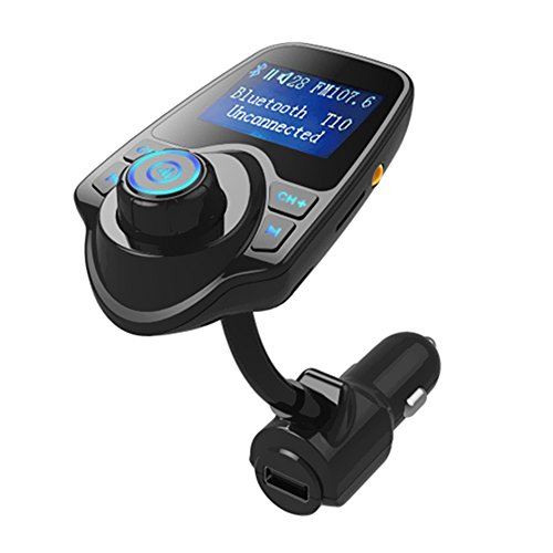 Docooler T10 BT Car Kit FM Transmitter Stereo Hands-Free TF Card Slot AUX-in MP3 Player USB Car Charger Black