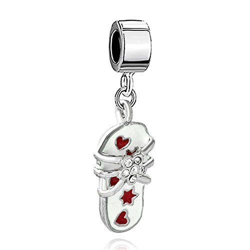 Silver Plated Pugster Beach Sandal Slippers Star Flower Dangle Pendant Bead Fits Pandora Charm ()