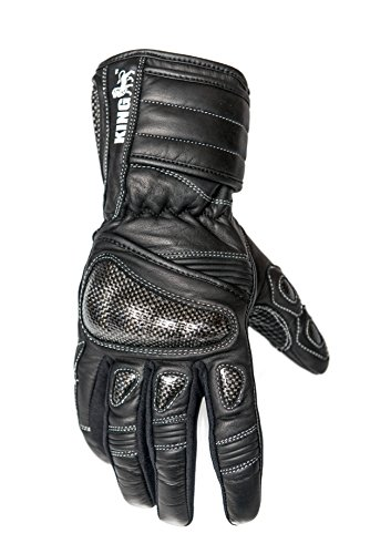 - Protect the King Nomad Premium Leather Gauntlet Motorcycle Sport Biker Gloves (Small)