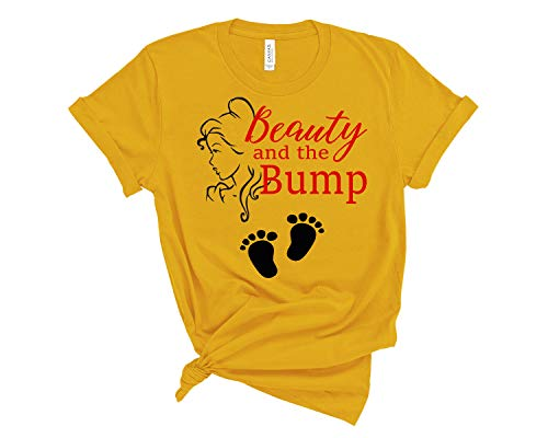 Amazing Retro Maternity Beauty and The Beast Bump Mommy T Shirt Pregnancy Announcement Tee Shirt Sold Individually (Large) Yellow