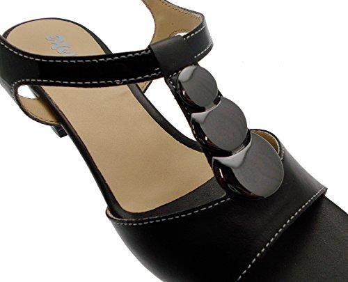 sandalo donna aperto pelle nero medaglia art K95328P