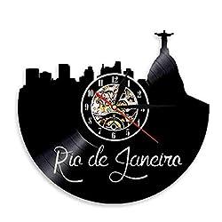DFRFR Rio de Janeiro Wall Art Skyline Wall Clock Brazil City River Vinyl Record Wall Clock Jesus Christ Statue Wall Decoration