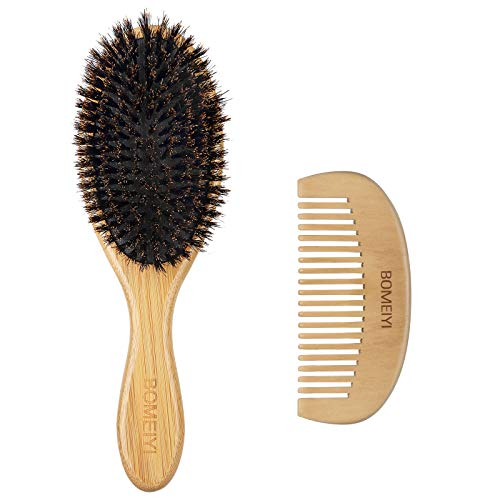 BOMEIYI 100% Boar Bristle Hair Brush,Set for Women Mens Children,Designed for Thin and Normal Hair,Makes Hair Shiny and Improves Hair Texture Straightening Styling Bamboo Wooden Paddle Hair Brush.