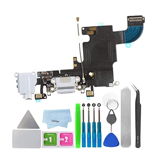 Replacement Charging Charger Port USB Connector Dock Microphone Headphone Audio Jack Ribbon Flex Cable + Repair Tools for iPhone 6 (White)