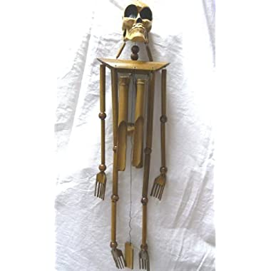 Skeleton Burnt Bamboo Windchime 39  Beautiful Sound - Unique to Say the Least