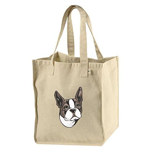 - Market Tote Bag Hemp/Cotton Canvas Boston Terrier Head By Style In Print