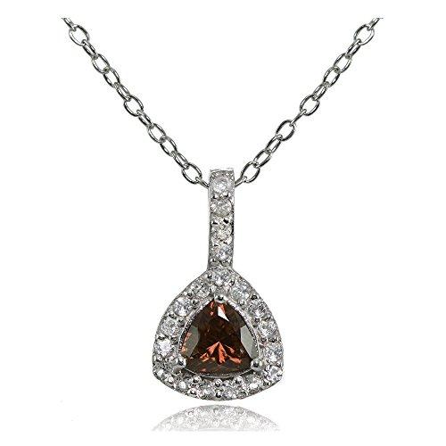 Ice Gems Sterling Silver Genuine Garnet & White Topaz Trillion-Cut Necklace (Trillion Cut Garnet Pendant)