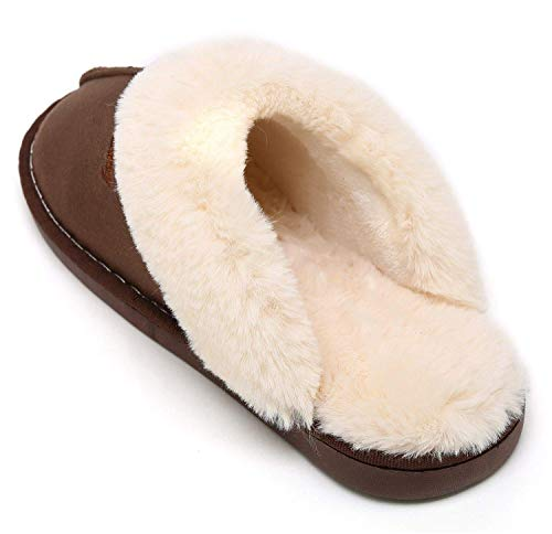 Slippers Soft Women Flip House for NewYouDirect for Indoor Flop Flat Fur Outdoor Sandals Coffee q85g5xY