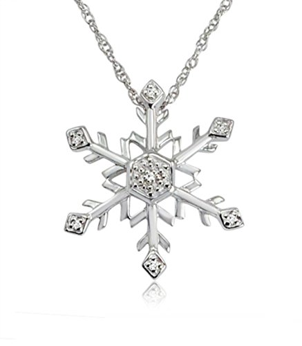 Diamond Snowflake Pendant-Necklace in Sterling Silver (18 inch Chain) ()