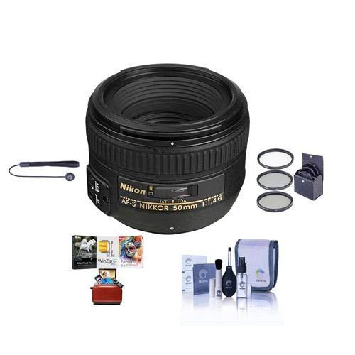 Nikon 50mm f/1.4G AF-S NIKKOR Lens - USA. Warranty - Bundle with 58mm Filter Kit, Cleaning Kit, Lens Cap Leashm, Mac Software Package