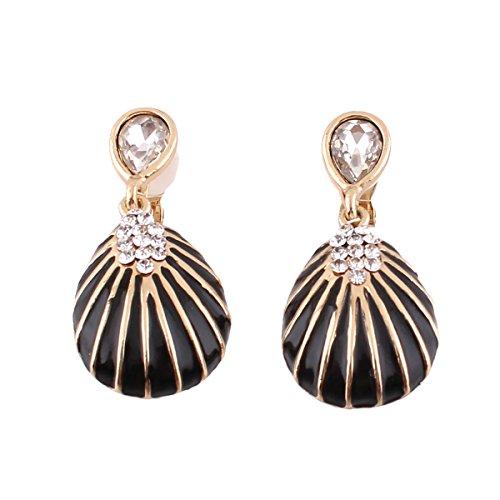 (Bridal Vingtage Rhinestone Crystal Enamel Large Water Drop Shpae Dangle Earrings for Women Ear clip (Black clip-on))