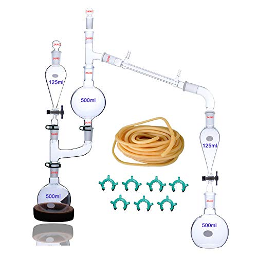 New 500ml, 23pcs Glass Steam Distillation Apparatus for sale  Delivered anywhere in USA